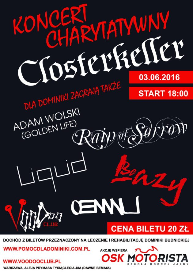 Koncert Charytatywny: Closterkeller I Adam Wolski (Golden Life) I Rain of Sorrow I Liquid I Be Lazy I OENWU
