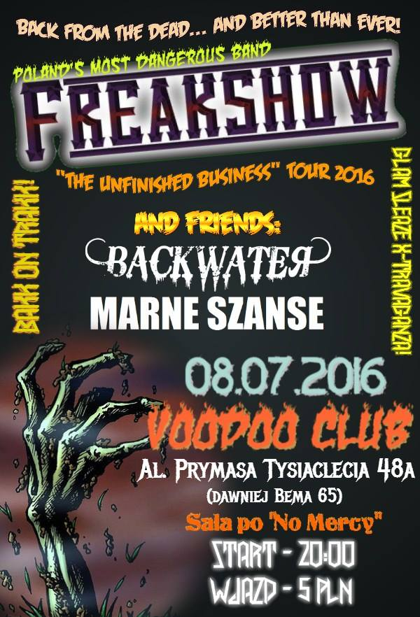 Freakshow & Friends: Backwater + Marne Szanse