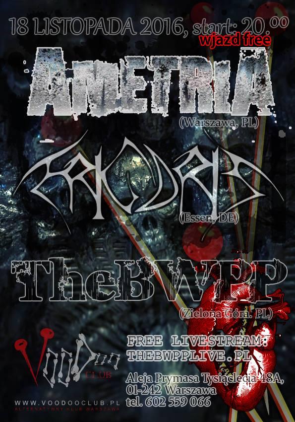 Livestream Koncert! Ametria I Frigoris I TheBWPP I Wstęp free!