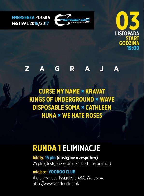 Eliminacje EMERGENZA FESTIVAL Polska – Warszawa VooDooClub – 1