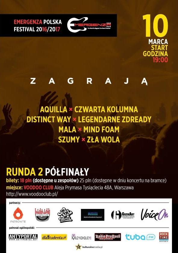 Półfinały EMERGENZA FESTIVAL Polska – Warszawa VooDooClub – 1