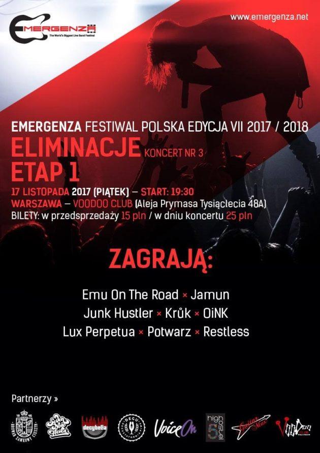 Eliminacje (Warszawa) EMERGENZA FESTIVAL PL Voodoo Club 3