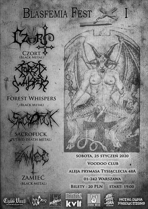 Blasfemia Fest I – Czort / Forest Whispers / Sacrofuck / Zamieć